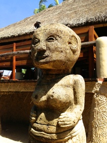 The Novotel grounds are decorated in traditional Sasak decor and have tribal statues lining the walk ways.