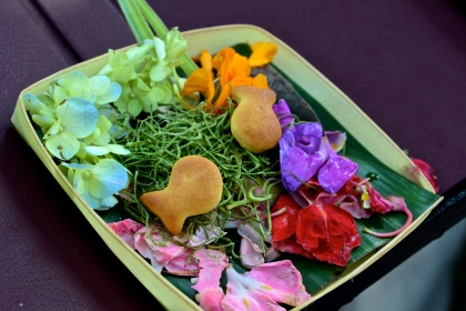 One of the daily offerings placed outside shops, homes and temples.