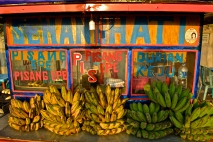 A pisang epe (pressed banana) stall on the Pantai Losari