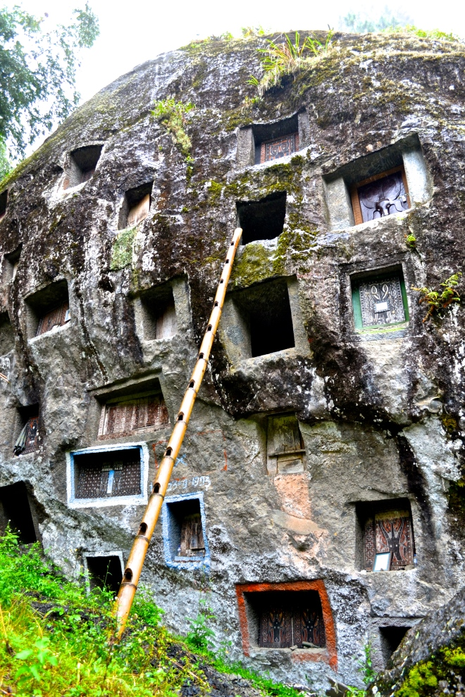Family members can work for as long as 6 months to chisel away at the rock face. Once the cavity is made, they lift the coffin up using bamboo ladders and rope.