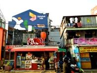 A bustling street in downtown Makassar.