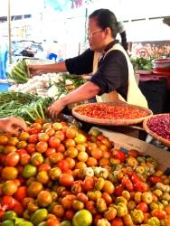 Fresh vegetables at Pasar Central.