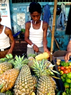 Delicious, fresh pineapple at Pasar Central