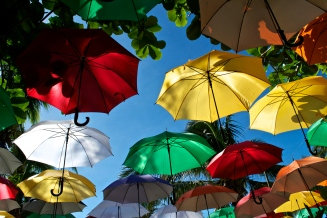 Colorful umbrellas outside Exit Bar