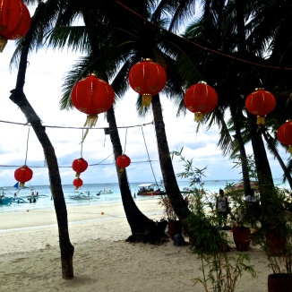 Festive decor in front of Bamboo Bar on White Beach