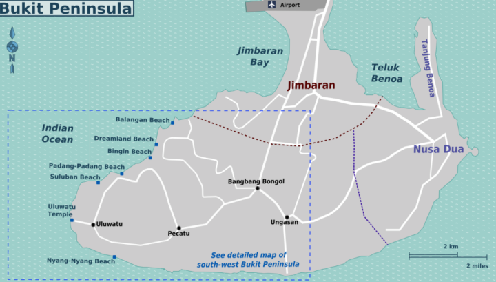 Map of the Bukit Peninsula and its beaches.