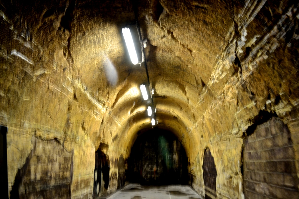 Cold, damp and eerie wine cellar tunnels at the Mercier champagne house.
