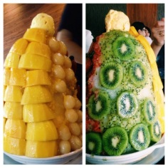 A huge fruit encrusted snow cone with ice cream on top. Only in Asia!