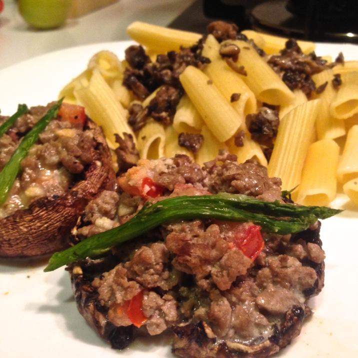 Ground beef stuffed portobello mushrooms.