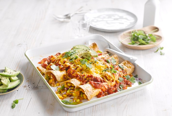Cheesy Spring Enchiladas recipe