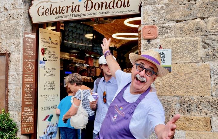 Meeting Gelato Master Sergio Dondoli in San Gimignano,Italy